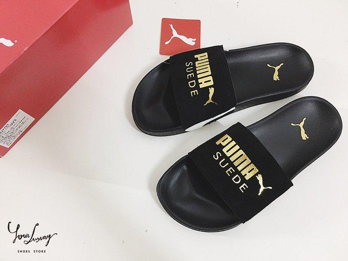 【Luxury】PUMA Leadcat FTR Suede Classic 男女 運動拖鞋 新品海灘 休閒 黑金 白金