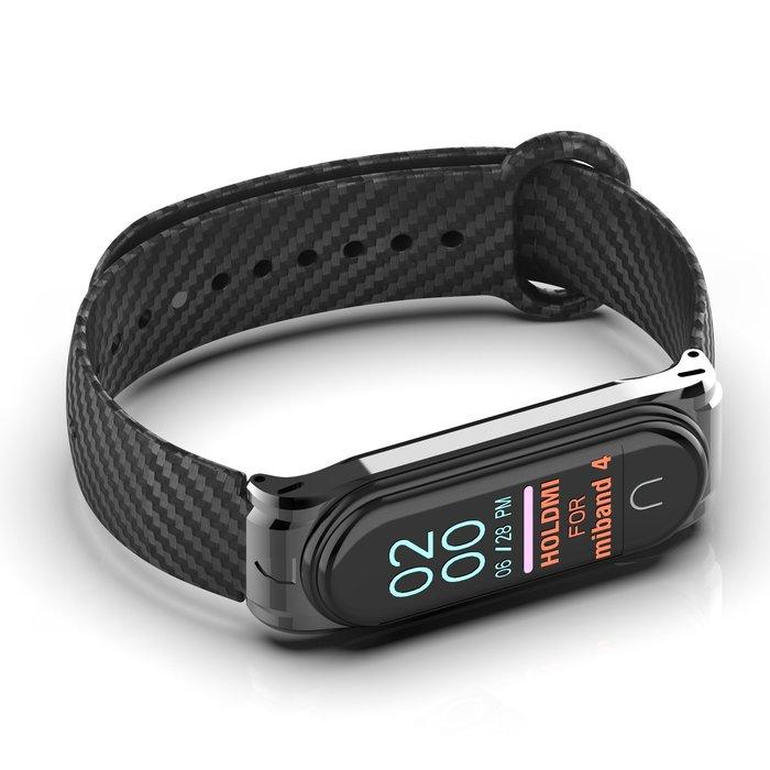 小米手環 4 3 NFC版 手錶帶 替換腕帶 碳纖維紋 透氣散熱 金屬殼 智能手錶帶 替換腕帶