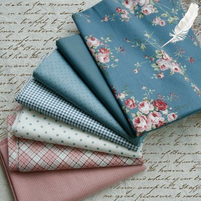 一件不發貨/3件起發貨~PopoHouse灰藍薔薇 斜紋純棉布料JSK洋裝連衣裙服裝面料手工diy