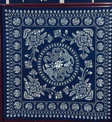 !中國藍Anewei藍染雙鳳呈祥雙面方巾150*150CM門簾.窗簾.沙發巾-萊爾富免運