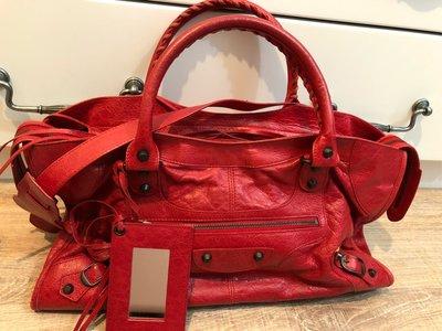 (降價出清)二手正品Balenciaga Part Time紅色機車包