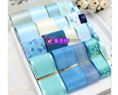 韓版 緞帶蝴蝶結 手工髮夾 頭飾 髮飾DIY材料包(藍色系)(626-2)1