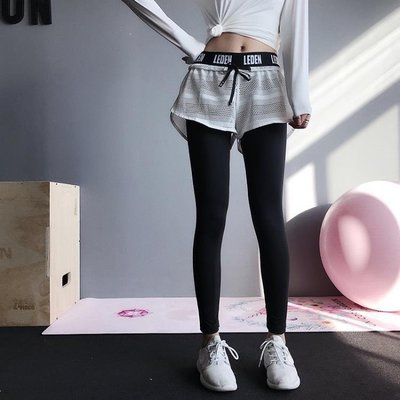 日和生活館 健身褲女ANNERUN健身褲女彈力緊身假兩件運動長褲高腰跑步訓練速干瑜伽褲S686
