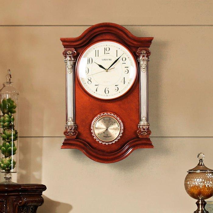 歐式鐘表復古掛鐘客廳大氣美式時鐘靜音壁鐘創意豪華中式表溫度計