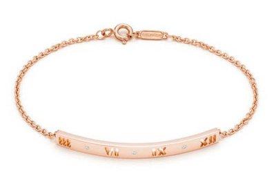 [美國代購] TIFFANY&Co. ATLAS 18K 玫瑰金 鏤空 羅馬數字 鑽石鑲崁 造型 手鍊