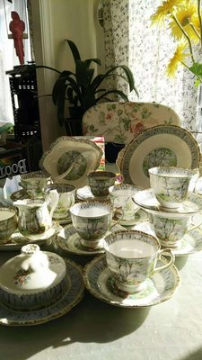 英國經典骨瓷杯組-----Royal Albert 白樺林 Silver Birch 1930年代