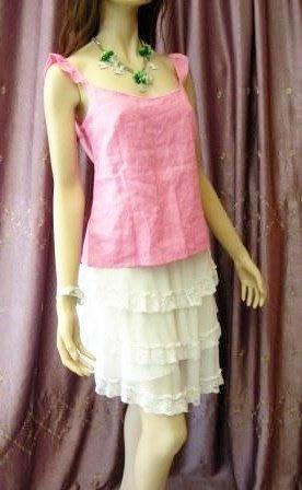 英國品牌全新《JOSEPH》柔美公主風粉紅色荷葉袖100%亞麻背心