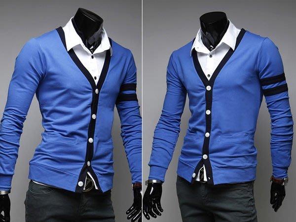 『潮范』新款男士色塊拼接長袖修身百搭亮色開衫針織衫針織外套圖案針織衫NRB03671