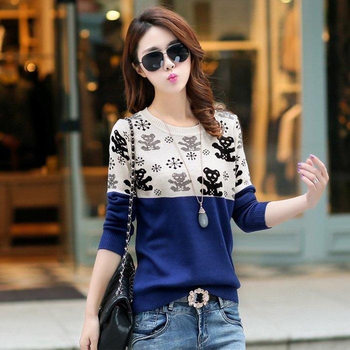 現貨 ☆紫米粒小舖☆【R8368】針織 可愛小熊緹花圖案拼接長袖針織衫。