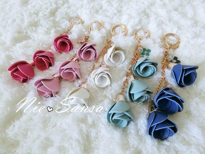 Nie Sansa 現貨特價出清 皮革玫瑰花包包吊飾飾品鑰匙圈