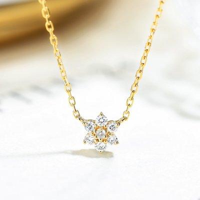 【馬格斯珠寶】k18金 輕珠寶雪花鑽石項鍊鎖骨鏈 墜子鑽石墜子 鑽石吊墜 極美無暇 火光極佳 手工訂製限量商品 精緻大方