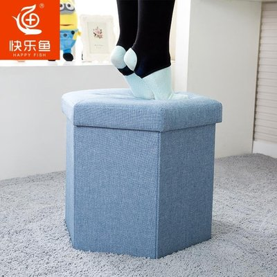 收納凳儲物凳子可坐人布藝梳妝凳多功能衣物玩具收納箱沙發換鞋凳 【拾月生活小鋪 可開發票】