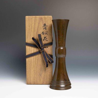 【吳苑】平安藏六造  立鼓式 青銅 花入 日本 古美術 茶道具 花道具 書道具 AN0314