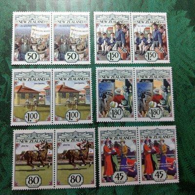 【大三元】紐澳郵票-033紐西蘭 1930年代袖扣與花結-新女性特質-新票6全二方連-原膠上品
