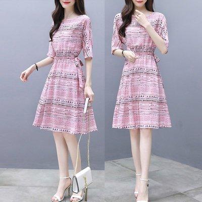 新品 yt1013女裝修身顯瘦時尚氣質印花夏季超仙裙子中長款雪紡連衣裙