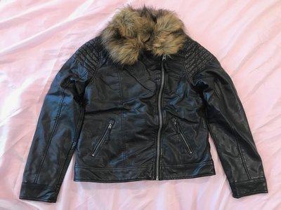 【天普小棧】A&F abercrombie KIDS faux leather jacket熊寶寶皮衣外套夾克15/16