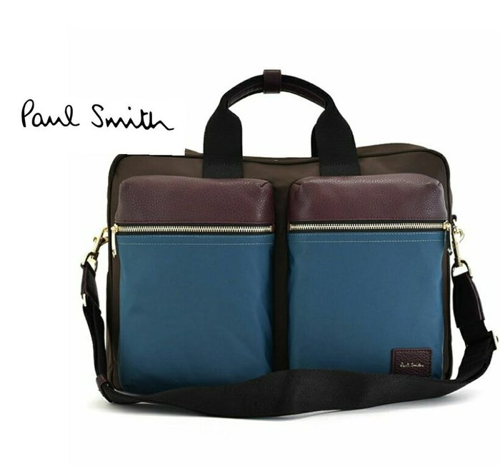 Paul Smith  ( 藍色×深酒紅色×棕色 )  帆布尼龍×真皮 手提包 後背包 肩背包 多用法貪心包 中性款|100%全新正品|特價!