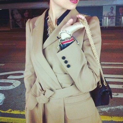 美國購回全新8號Anne Klein 100%駝毛(同cashmere等級)駝色繫帶長大衣