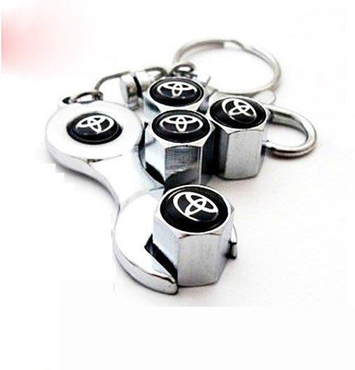 Toyota 豐田 專用 輪胎 氣嘴蓋(4顆裝)+造型鑰匙圈