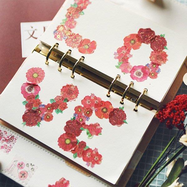 《Jami Honey》【JC3215】花卉植物金箔花朵燙金裝飾貼紙 手帳貼紙