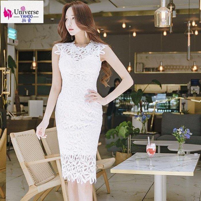 歐美韓版流行氣質夏季新款蕾絲女裝韓版名媛氣質中長款鏤空修身包臀連衣裙
