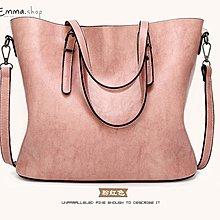 EmmaShop艾購物-獨家新色-韓國油蠟仿牛皮兩用托特包斜背包/粉紅公事包方包托特包