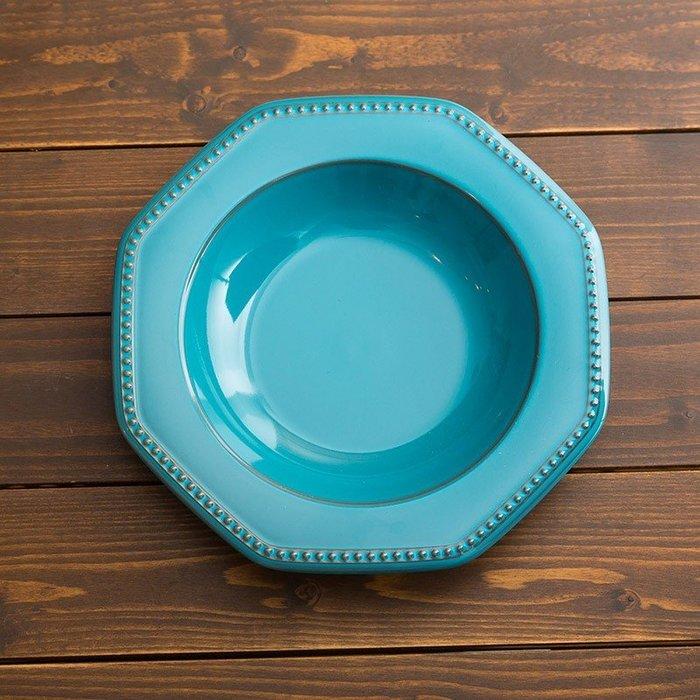 [偶拾小巷] 日本製 美濃燒 ROOTS Coline 歐式八角型深盤26cm - 土耳其藍色