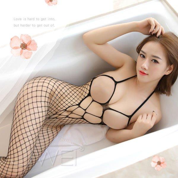 『野媚情人.性感掛脖露乳鏤空大網連身貓裝』情趣用品 性感睡衣 角色扮演服