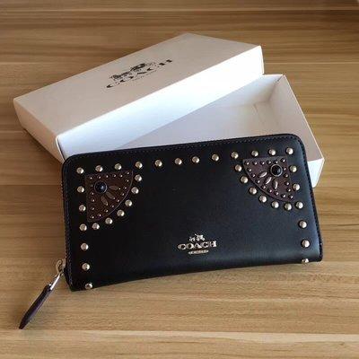 完美精品代購 COACH 56522 新款女士WESTERN鉚釘珠飾手風琴拉鏈錢包 鉻鞣皮革 時尚個性 附代購憑證