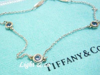 【Light & co.】二手真品 TIFFANY & CO 925純銀 經典款 單鑽 三鑽 手鍊 紫 鑽石 海藍寶石
