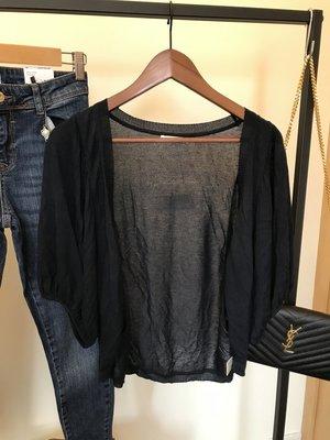 [100元商品]FIVE  PENCE  深藍蓬蓬袖短袖針織外套  遮掰掰袖  F SIZE