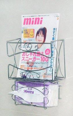 ☆成志金屬☆ #304不銹鋼 S-67L2平板+袋裝用衛生紙架,可放書藉雜誌兩用架