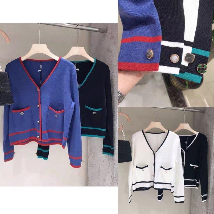 【2A Two】典雅小香風⌒寶石釦 撞色 針織外套『BB00485』