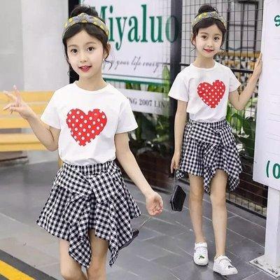 女童夏装套装2018新款童装中大童短袖T恤短裤两件套夏韩版潮童裙