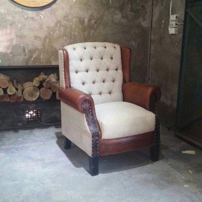 [ 夏法羅 傢俱 ] 進口復古做舊小牛皮單人沙發 古董家具 XF-D28