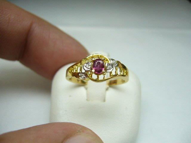 [吉宏精品交流中心]天然藍寶石 粉紅剛玉 黃k金 造型 戒指