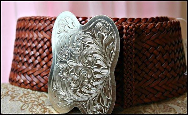 新光三越購買【Ralph Lauren 】類銀金屬冠軍腰帶極寬版棕色皮革編織皮帶 (原價$28680)