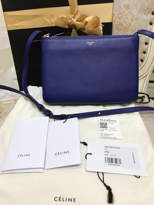 CELINE TRIO 經典舊logo小羊皮斜背包(寶藍、靛藍)~購於新加坡購物網站REEBONZ
