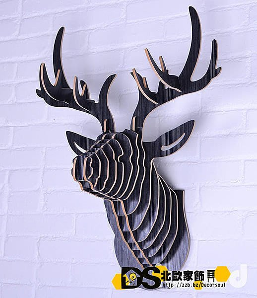 DS北歐家飾§ 復古仿舊LOFT 設計復刻 消光黑 鹿頭壁掛 牆壁裝飾 簡約壁飾掛件鄉村風格裝潢設計創意歐式文創組合文藝