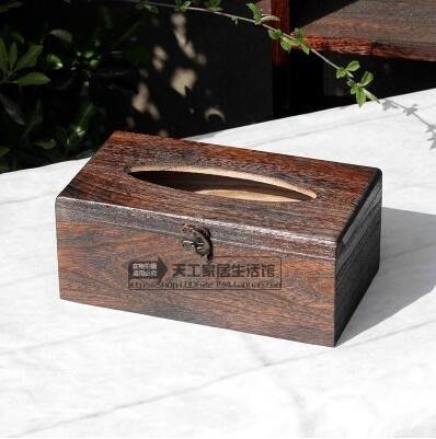 面紙盒-燒桐木紙巾盒創意中式實木手工復古車用車載抽紙盒面巾紙盒