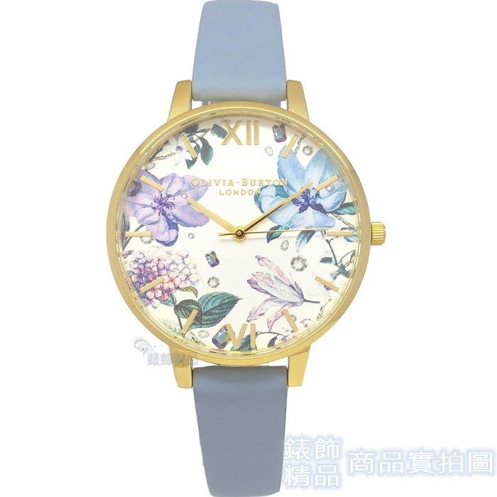 OLIVIA BURTON 手錶 OB16BF21 寶石花園 粉筆藍 皮帶女錶38mm【錶飾精品】