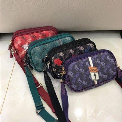 琳精品@COACH 84640 新款圖案小號相機包 綠色雙拉鏈斜背包 單肩包 側背包女包