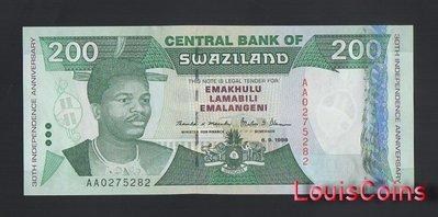 【Louis Coins】B1303-SWAZILAND-1998史瓦濟蘭紀念紙幣,200 Emalangeni