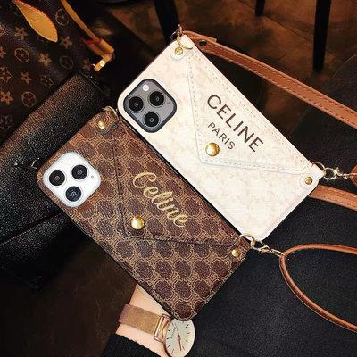 Celine 大牌 蘋果 12promax 手機殼 mini 掛繩iPhone11 卡包 X 零錢包一體 XS 斜背 XR 女款8plus 手機殼