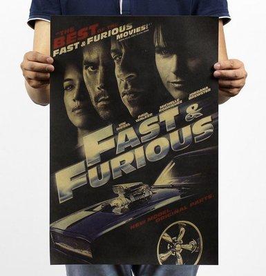 【貼貼屋】玩命關頭4 Fast & Furious 4 保羅沃克 懷舊復古 牛皮紙海報 壁貼 店面裝飾 281