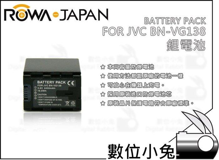 數位小兔【ROWA FOR JVC BN-VG138 高品質鋰電池】可重複充電 4450mAh 環保智慧型 防爆 低內阻