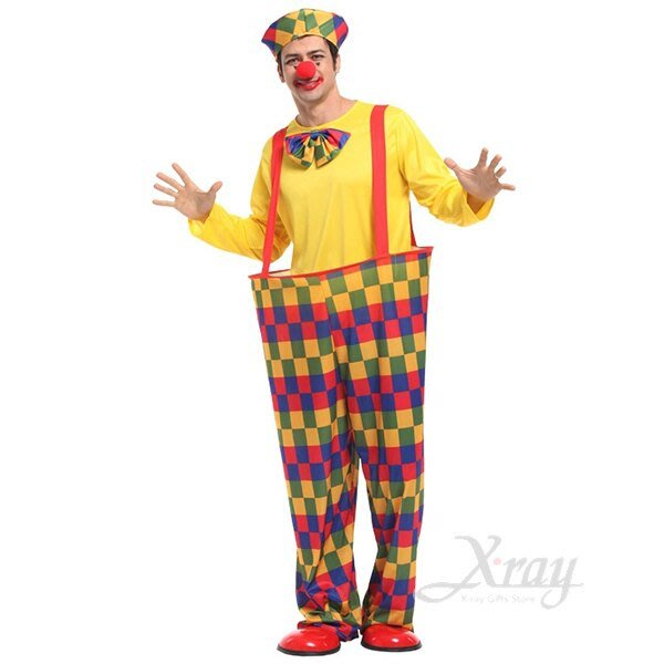 X射線【W370048】彩格鋼圈小丑,萬聖節/化妝舞會/角色扮演/聖誕節/cosplay/變裝派對/尾牙表演