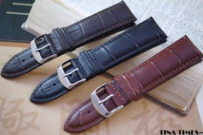 TINA TIMES~台灣館_ 艾菲爾短吻鱷壓紋加厚小牛皮錶帶18mm 20mm 22mm 台灣製造