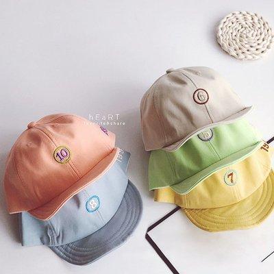【媽媽倉庫】 糖果色數字刺繡遮陽鴨舌帽 帽子 童帽