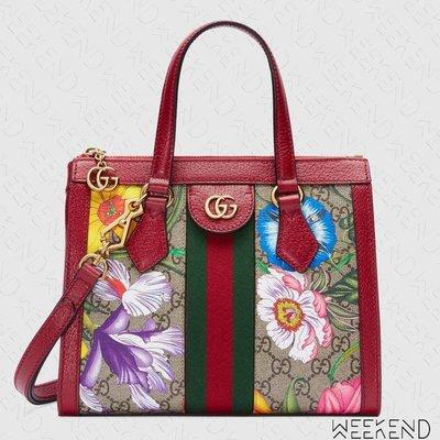 【WEEKEND】 GUCCI Ophidia GG Flora 花朵 小款 托特包 手提包 肩背包 紅色 547551